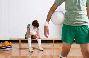 basketball player displays exhaustion