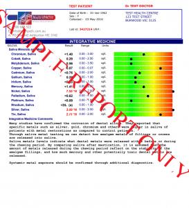 sample saliva toxic metals test report